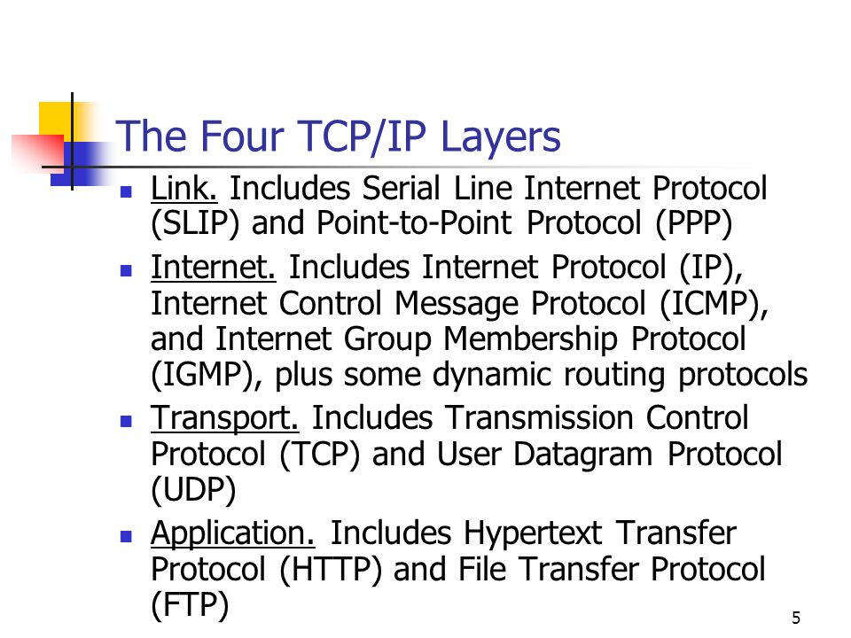 The Four TCP/IP Layers Link. Includes Serial Line Internet Protocol (SLIP) and Point-to-Point Protocol (PPP)