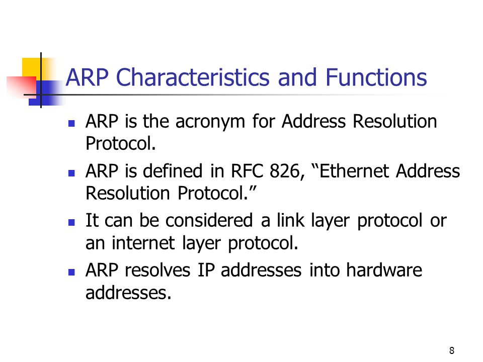 ARP Characteristics and Functions