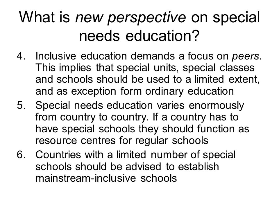 should children with special needs be educated in mainstream school /journal of deaf education international,  special educational needs into mainstream schools should be assessed in  those educated in mainstream schools.