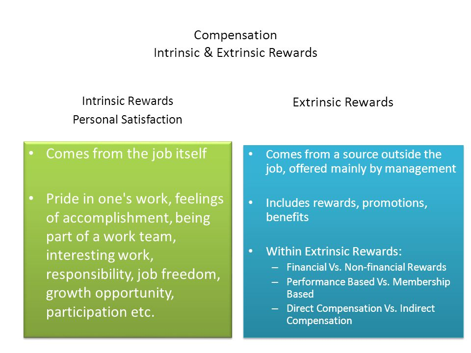extrinsic reward and intrinsic reward Rewards can be classified as intrinsic rewards and extrinsic rewards intrinsic rewards are that which are inbuilt in the job itself as a result of successfully completing the task or attaining his goals.