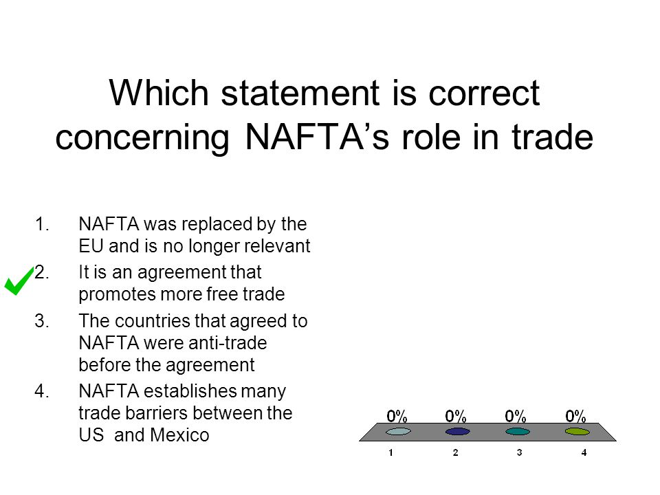 Which statement is correct concerning NAFTA's role in trade