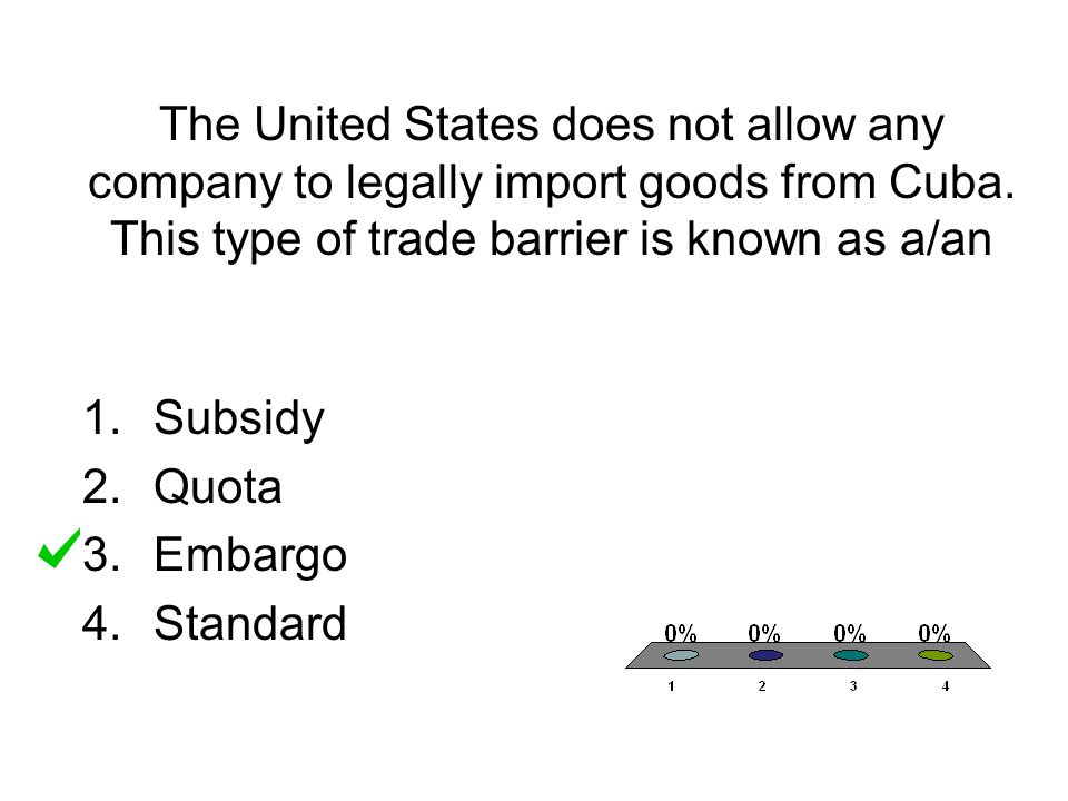 The United States does not allow any company to legally import goods from Cuba. This type of trade barrier is known as a/an