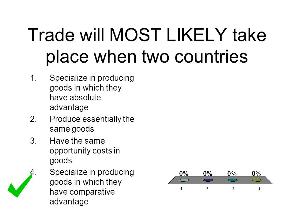 Trade will MOST LIKELY take place when two countries