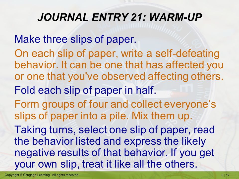 write about one of your self-defeating behavior patterns psychology