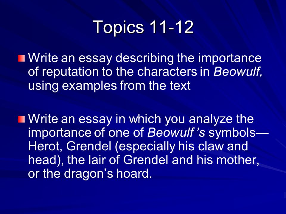 "an analysis of beowulf as an epic hero essay Beowulf analysis sample: structure and function posted on november 13, 2017 by essayshark beowulf is an epic poem that was written between ""700 and 1,000 ad in england"" (british library) beowulf tells the story of a terrifying demon named grendel and his ultimate defeat by a young geatish warrior named."
