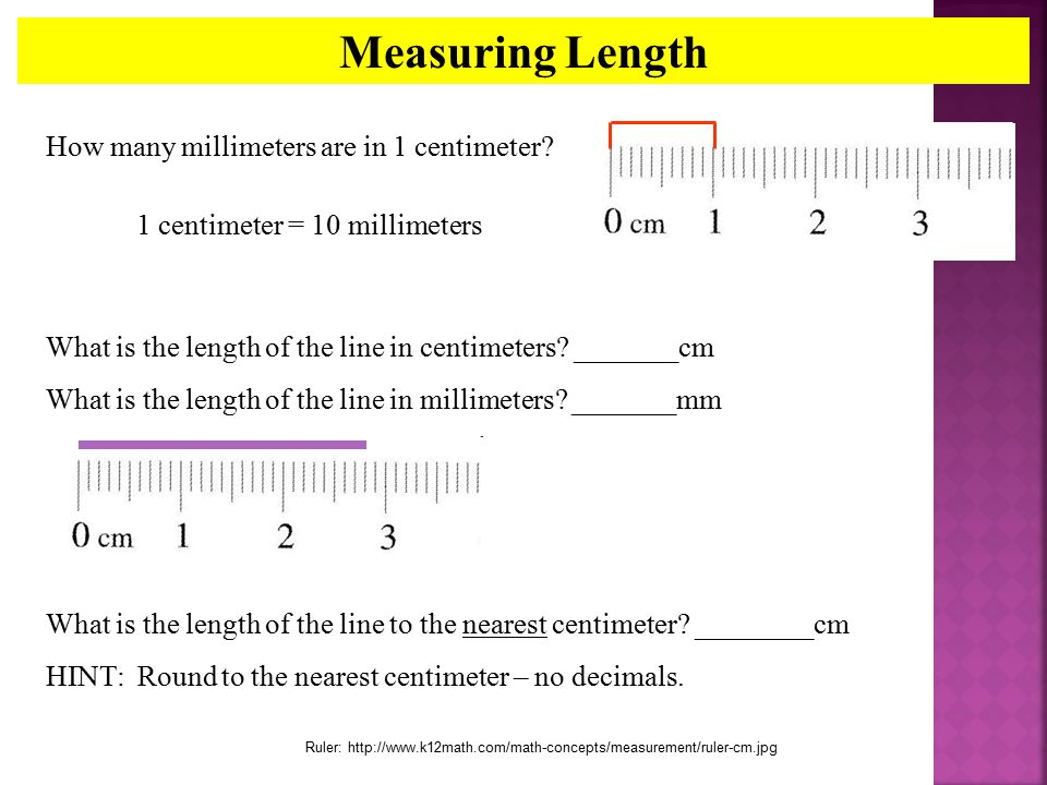 Measuring Length How many millimeters are in 1 centimeter