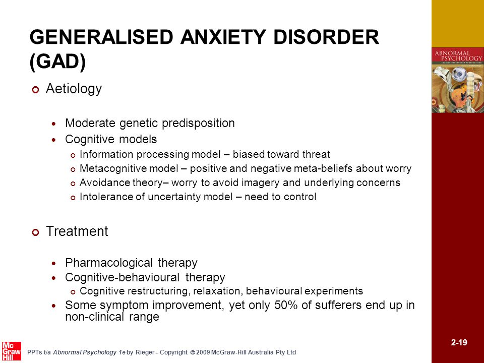 generalized anxiety disorder People who experience generalized anxiety disorder (gad) exhibit excessive anxiety and worry about multiple events or activities most days of the week.