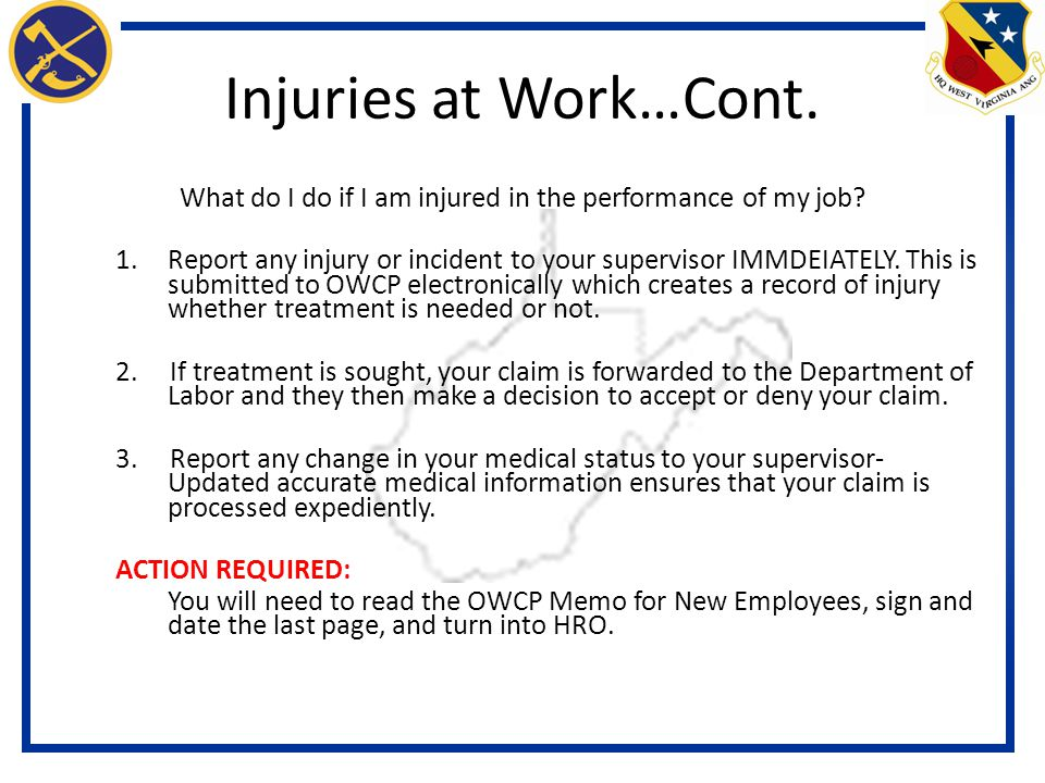 What Do I Do If I Am Injured In The Performance Of My Job