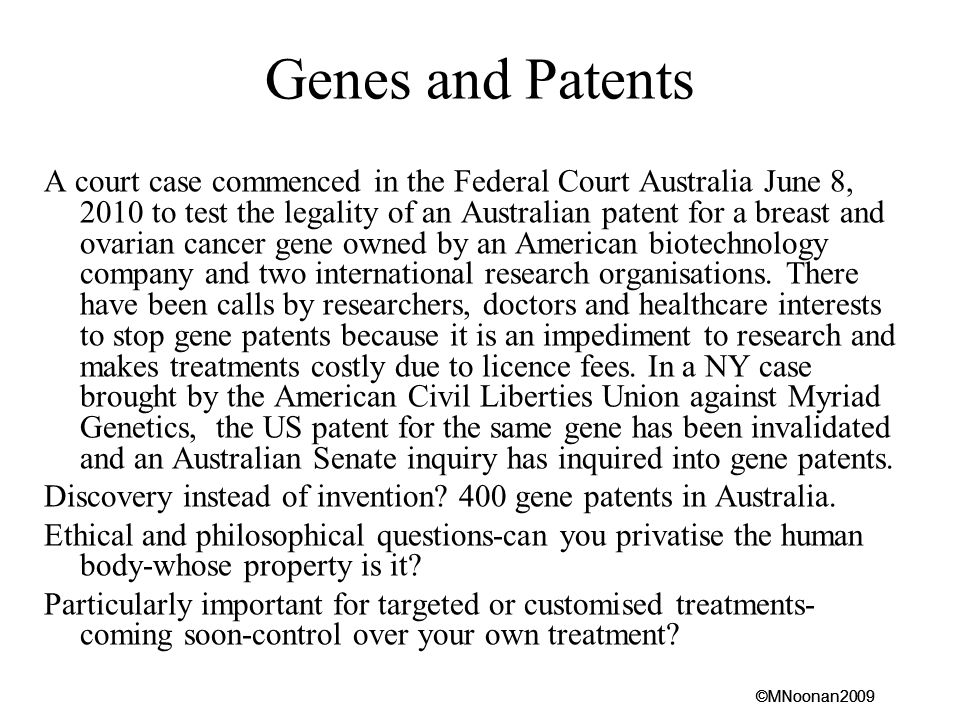Genes and Patents