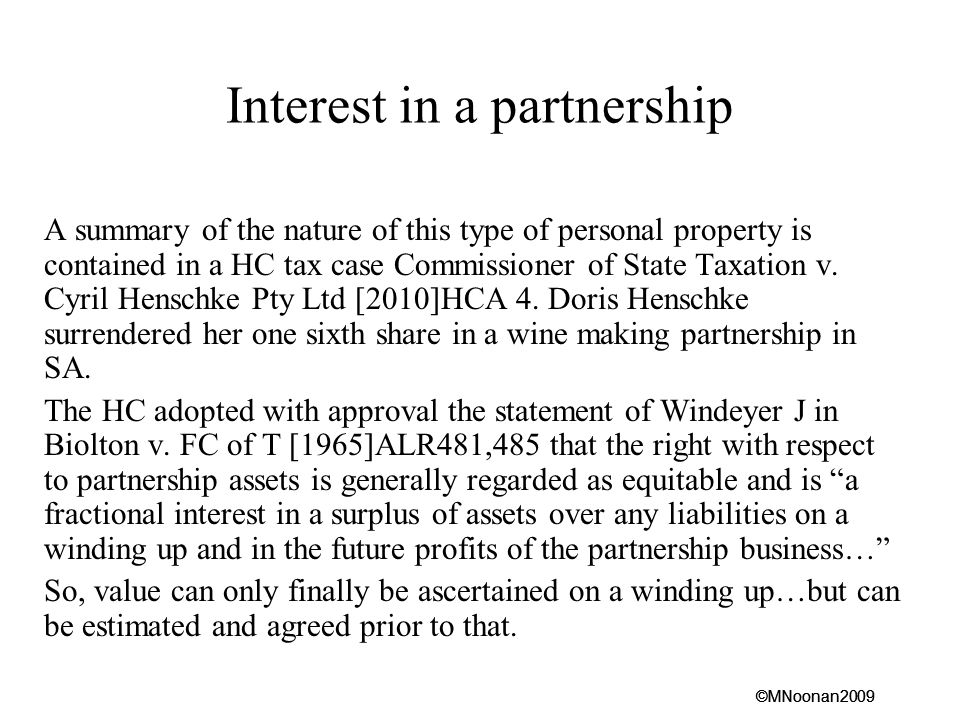 Interest in a partnership