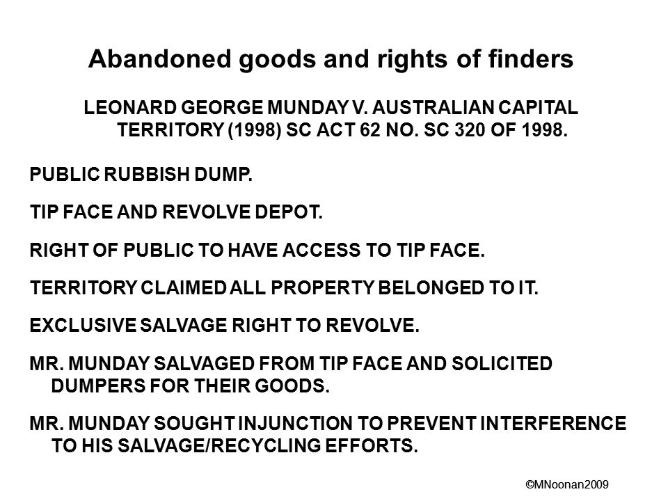 Abandoned goods and rights of finders