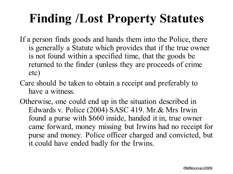Finding /Lost Property Statutes