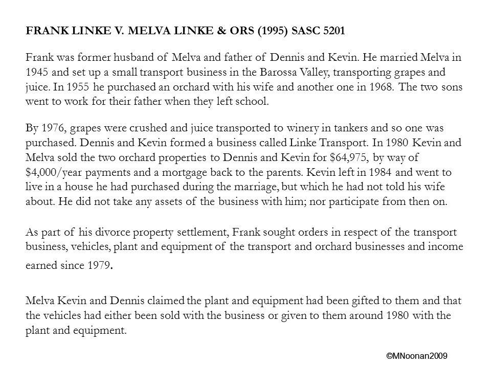 FRANK LINKE V. MELVA LINKE & ORS (1995) SASC 5201