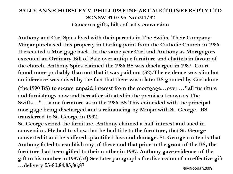SALLY ANNE HORSLEY V. PHILLIPS FINE ART AUCTIONEERS PTY LTD