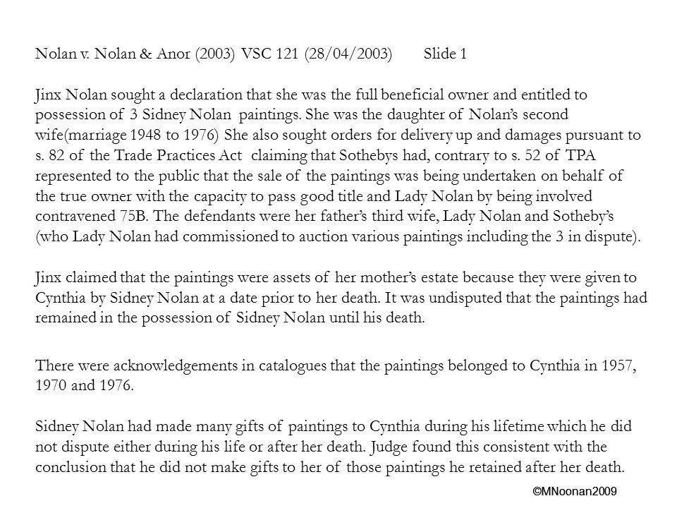 Nolan v. Nolan & Anor (2003) VSC 121 (28/04/2003) Slide 1
