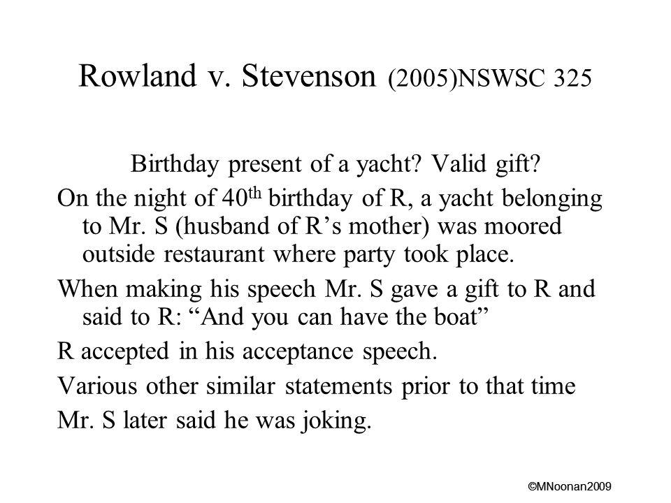 Rowland v. Stevenson (2005)NSWSC 325