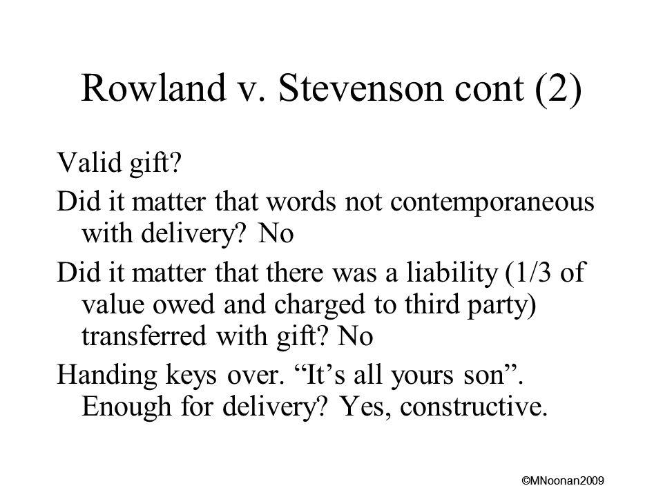 Rowland v. Stevenson cont (2)