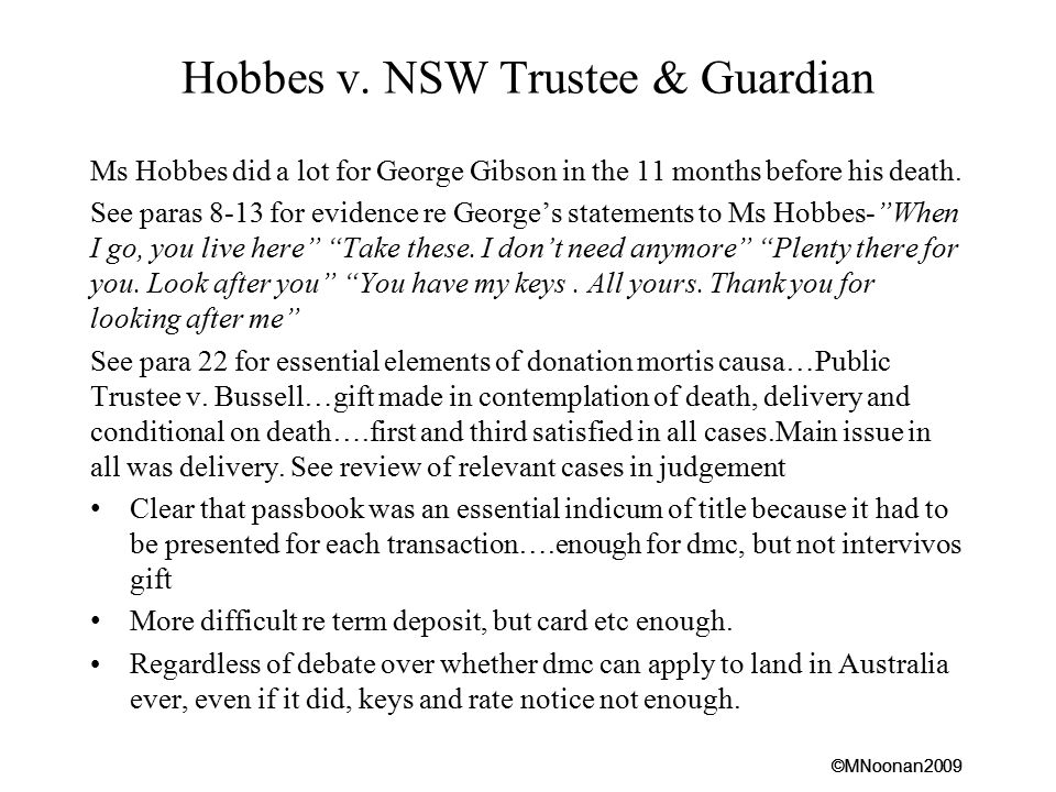 Hobbes v. NSW Trustee & Guardian