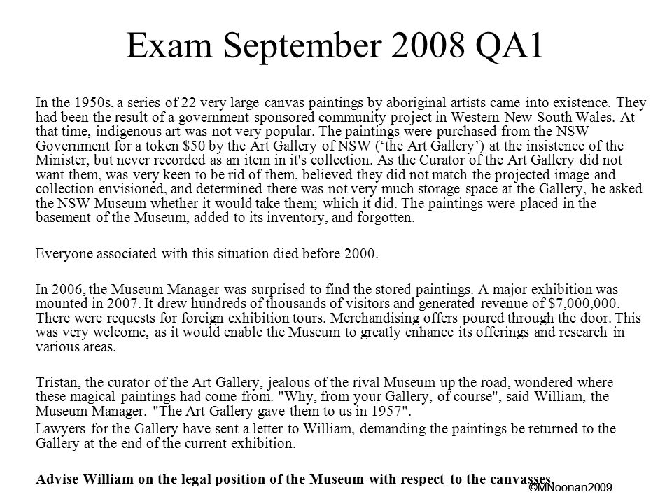 Exam September 2008 QA1