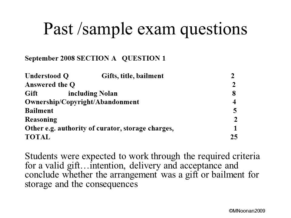 Past /sample exam questions