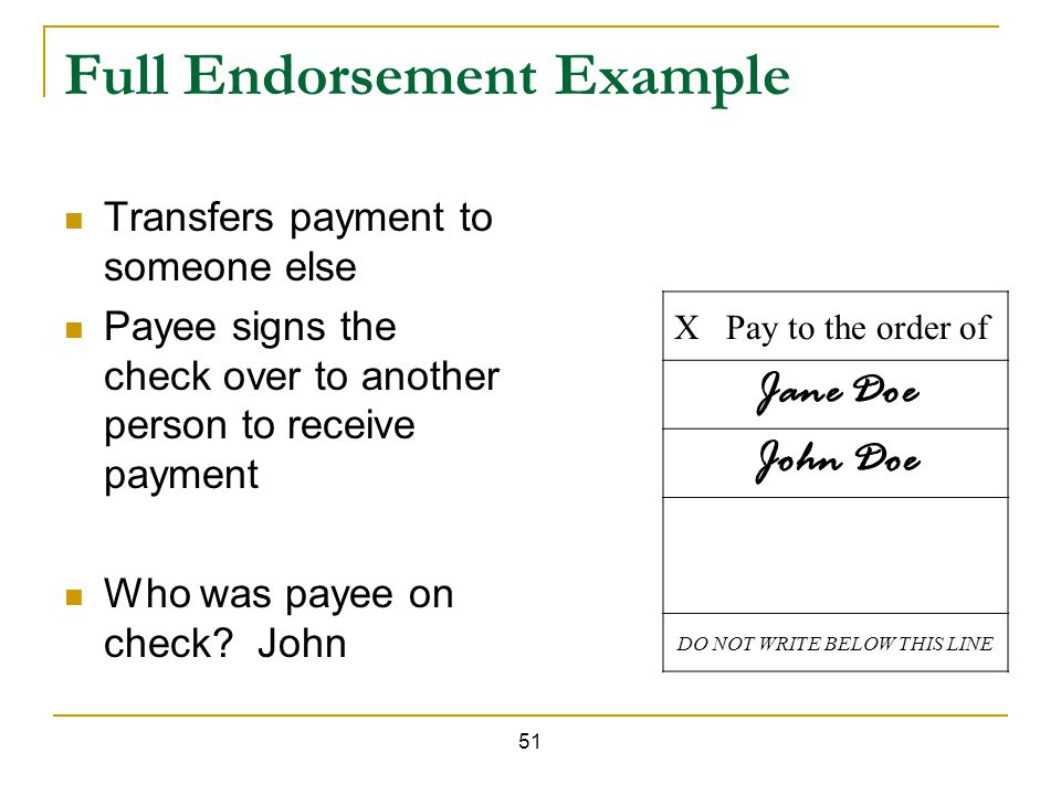 How to endorse a check to someone