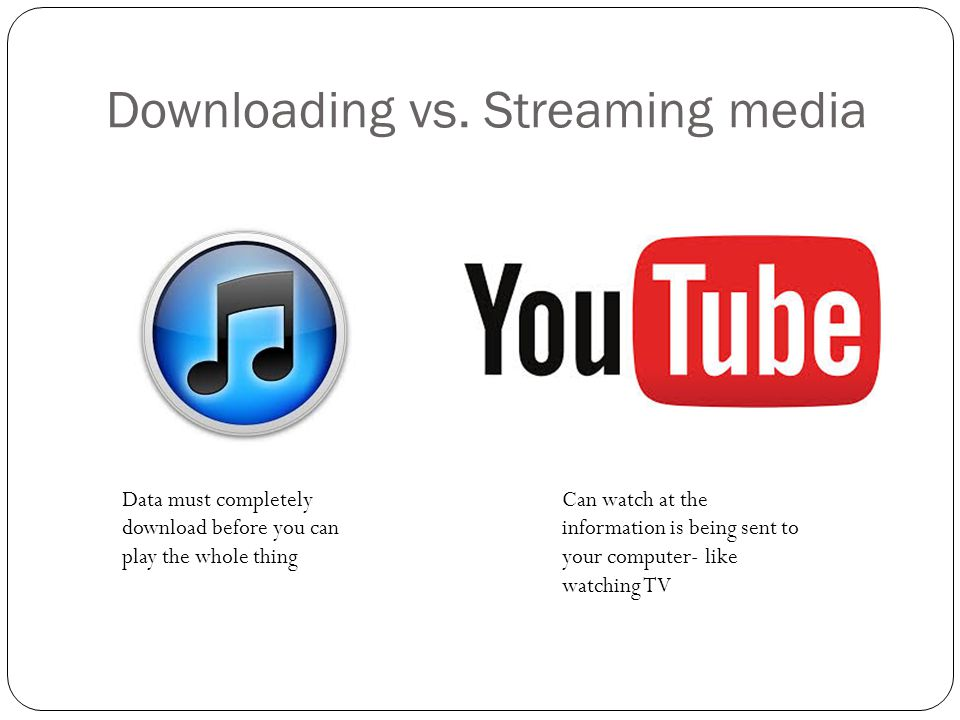 Downloading vs. Streaming media
