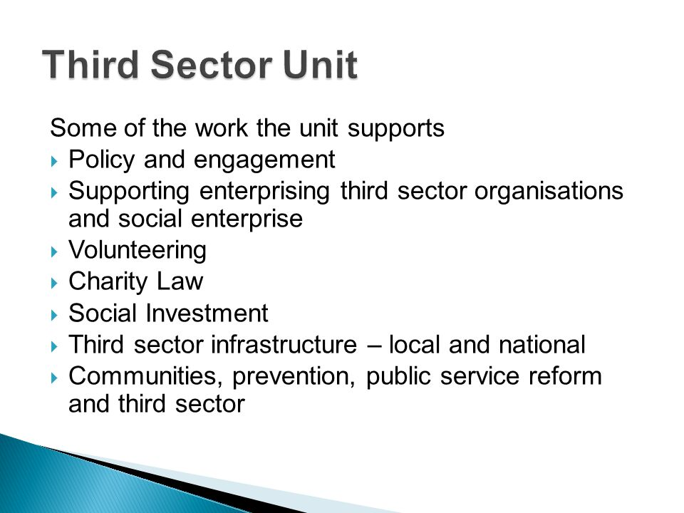 Third Sector Unit Some of the work the unit supports