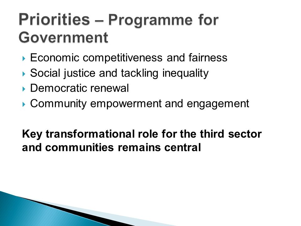 Priorities – Programme for Government