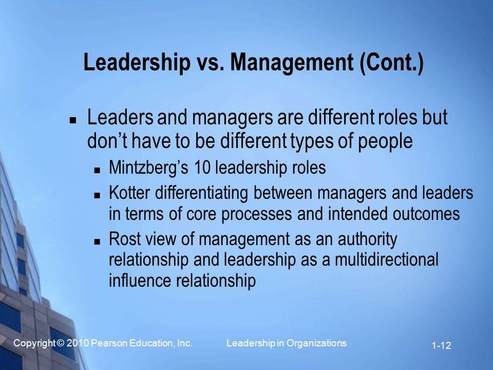 Leadership vs. Management (Cont.)