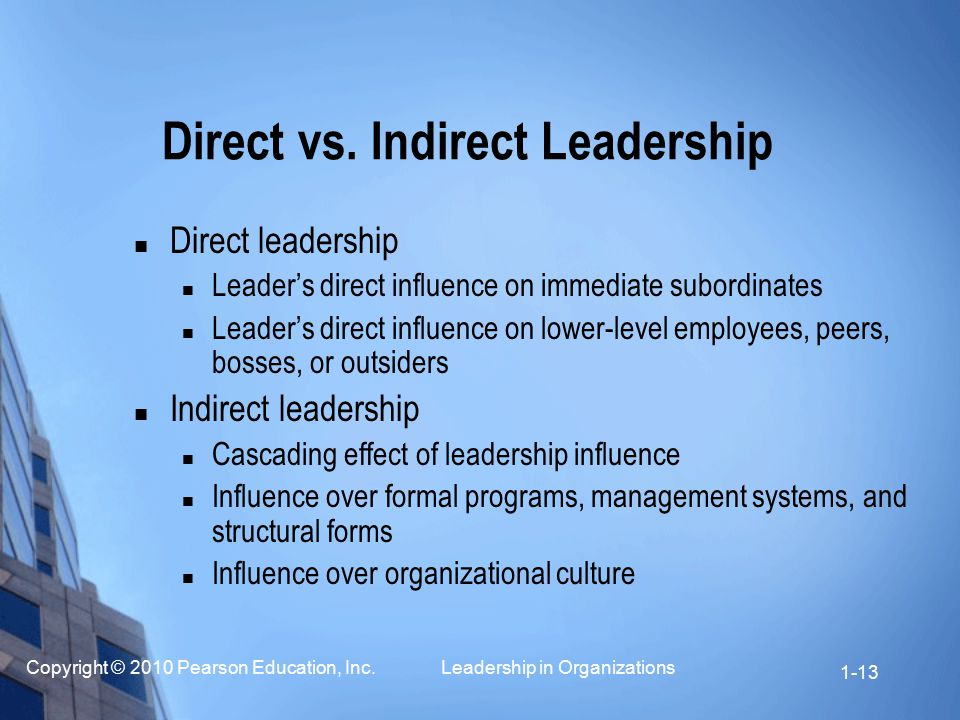 Direct vs. Indirect Leadership