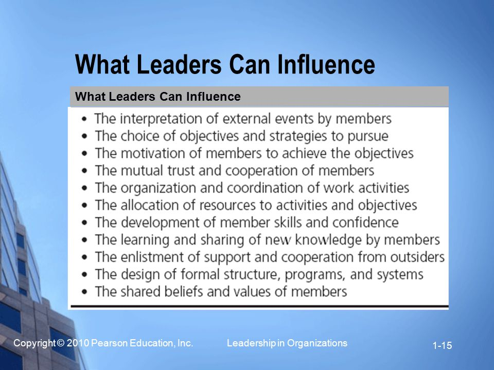 What Leaders Can Influence