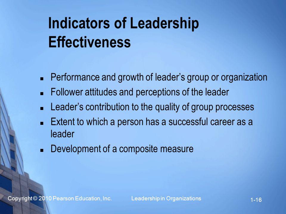 Indicators of Leadership Effectiveness