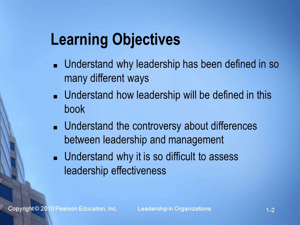 Learning Objectives Understand why leadership has been defined in so many different ways. Understand how leadership will be defined in this book.