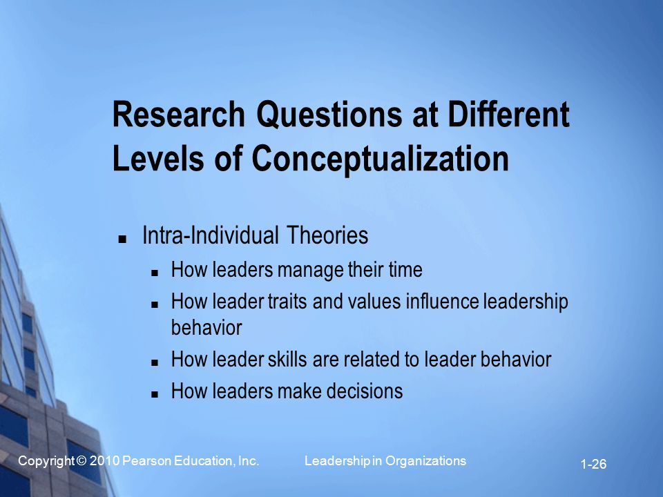 Research Questions at Different Levels of Conceptualization