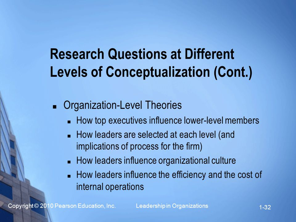 Research Questions at Different Levels of Conceptualization (Cont.)