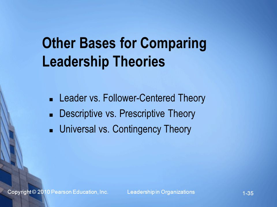 Other Bases for Comparing Leadership Theories