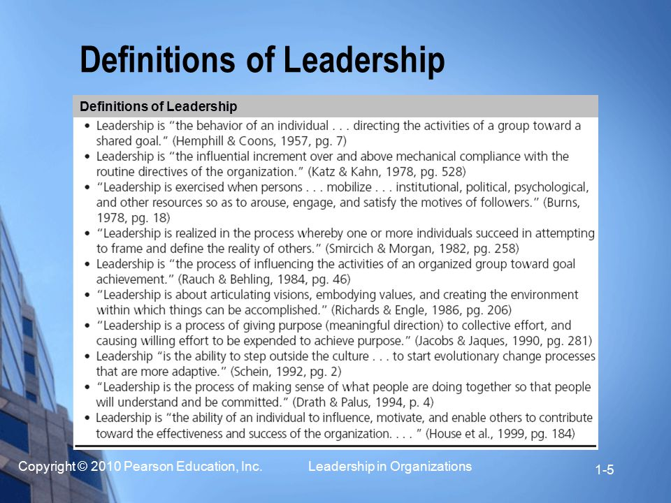 An introduction to the definition of leadership