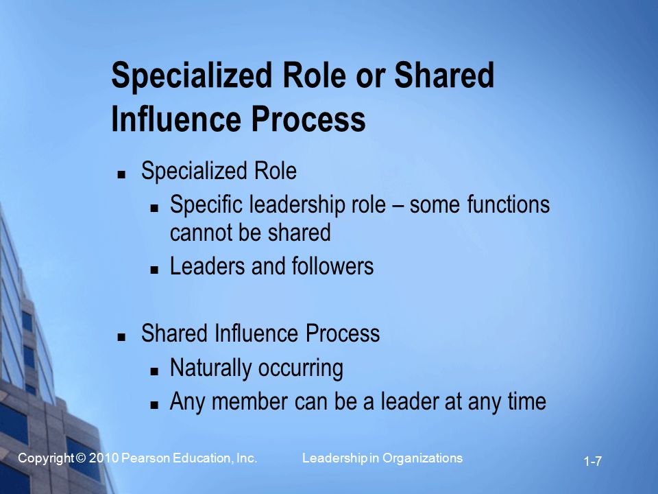 Specialized Role or Shared Influence Process