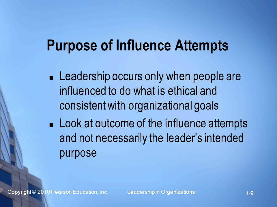 Purpose of Influence Attempts