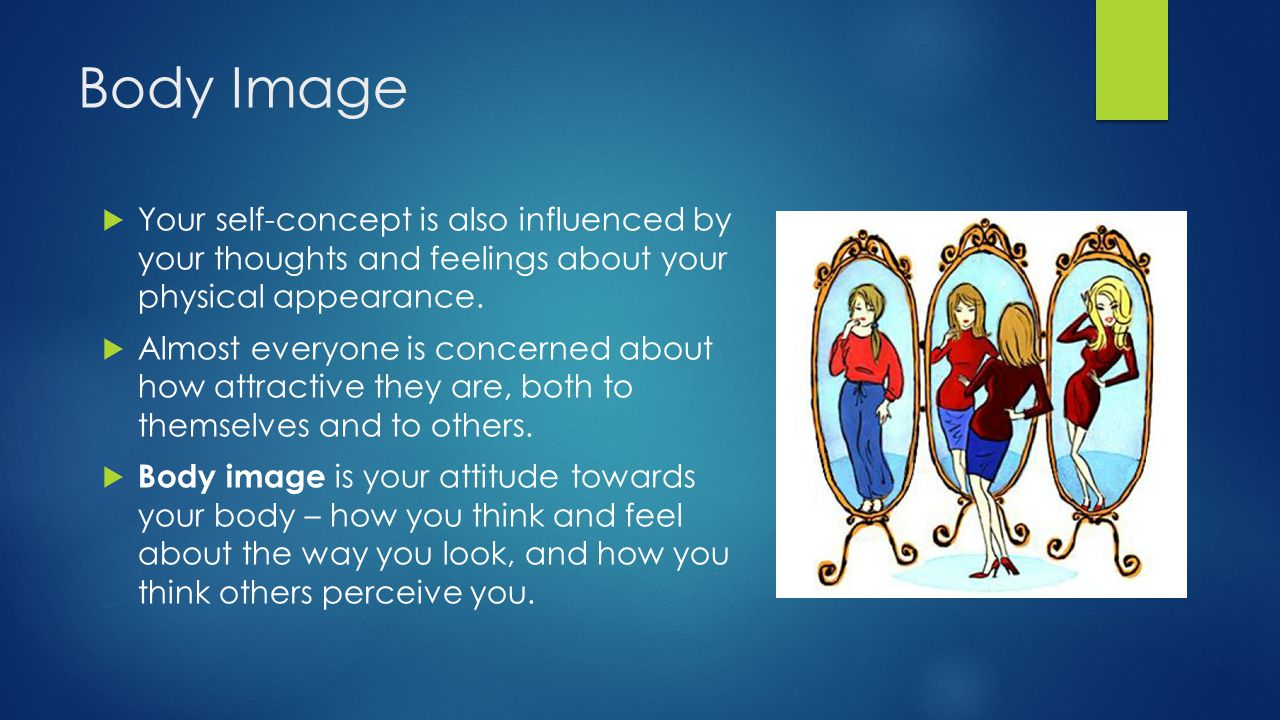 Body Image Your self-concept is also influenced by your thoughts and feelings about your physical appearance.