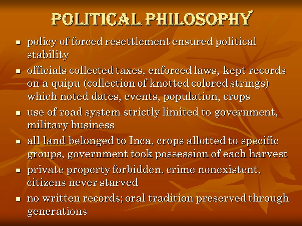 Political Philosophy policy of forced resettlement ensured political stability.