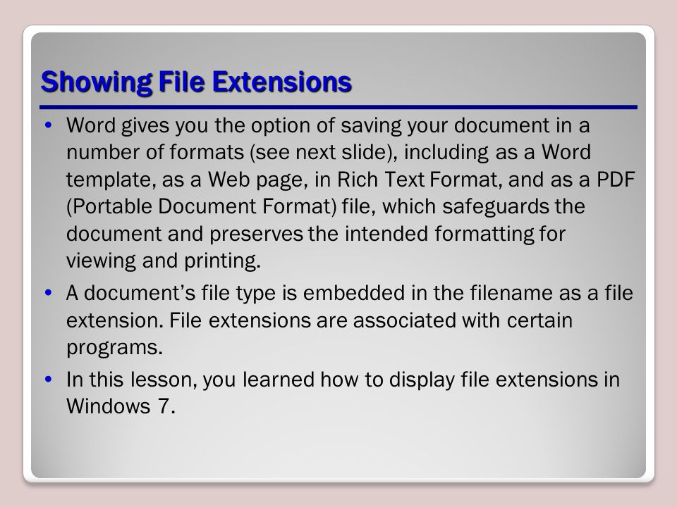 Understanding word lesson ppt video online download showing file extensions pronofoot35fo Images