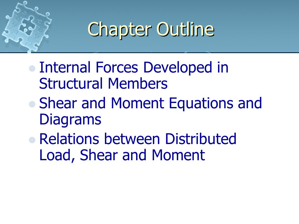Chapter Outline Internal Forces Developed in Structural Members