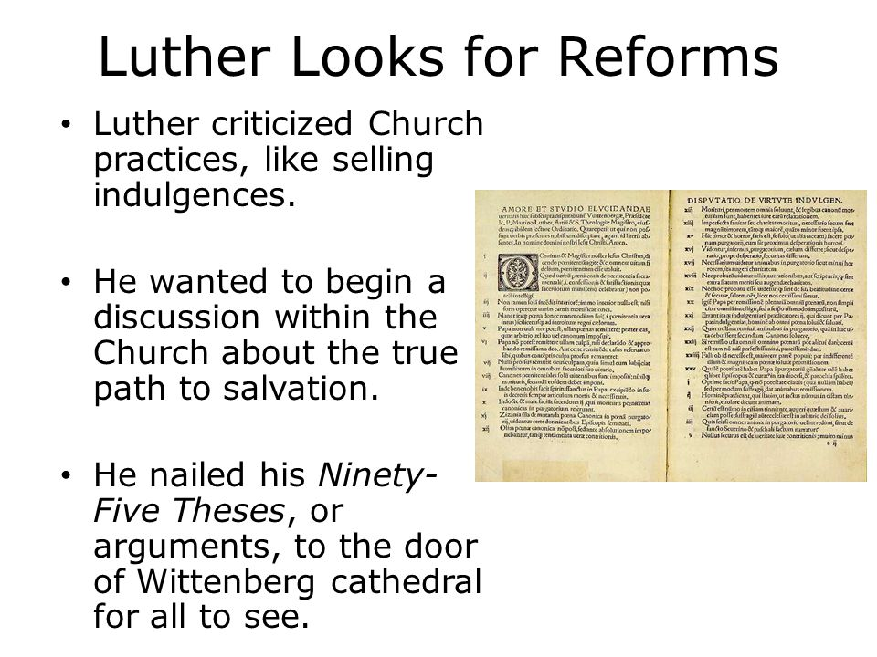 what were the effects of the 95 theses The rampant abuse of indulgences was exposed, and the catholic church, though they ultimately excommunicated luther, did actually deal with the most serious abuses though they didn't fix the underlying doctrine, we can still give them credit for what they did fix.