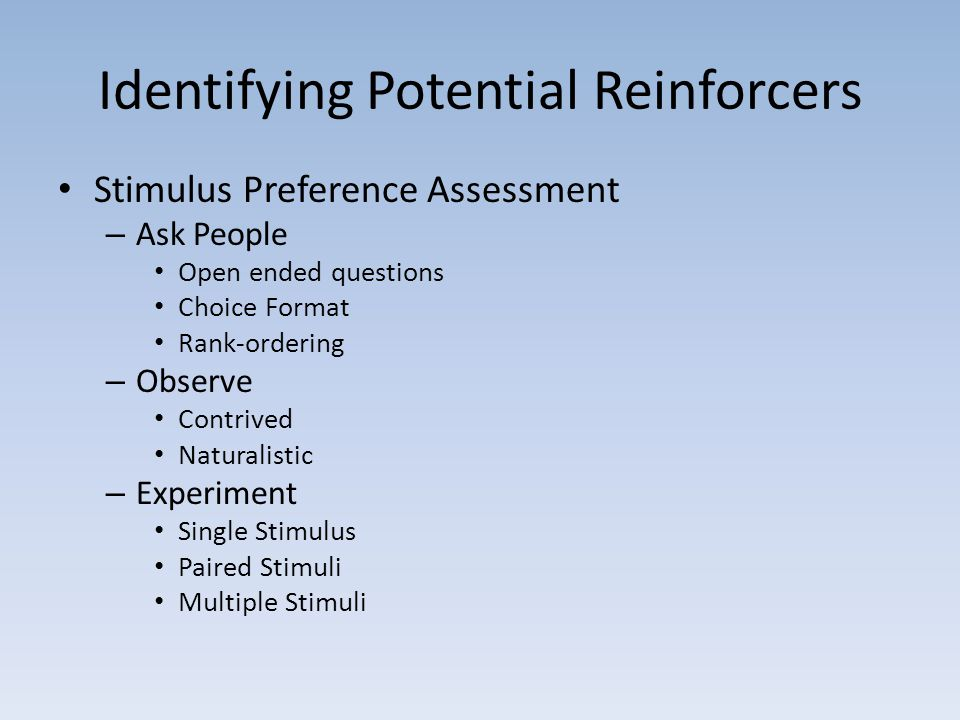 Identifying Potential Reinforcers