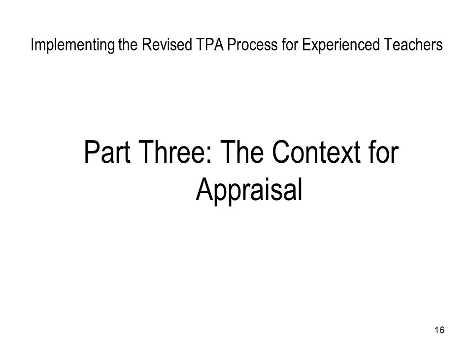 Implementing the Revised TPA Process for Experienced Teachers