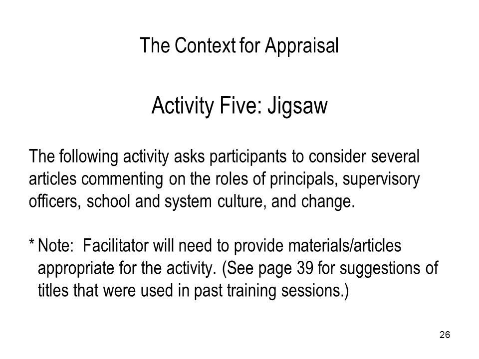 The Context for Appraisal