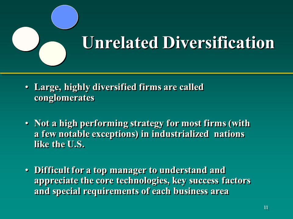 to what degree does diversification reduce Diversification via acquisition with a deficit and can thereby reduce the need of individual conditioned by the degree of diversification in.