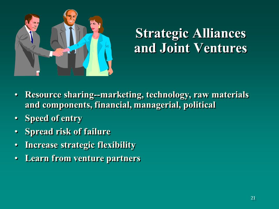 the participants of joint venture were Advantages & disadvantage of a joint venture expenses and asset ownership usually flow through the joint venture to the participants, since the joint venture.