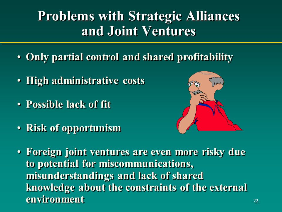 problems of joint venture As in other countries, international joint ventures have recently become the most popular form of foreign direct investment in china this paper analyses the problems which emerged in those ventures in the people's republic in terms of their uniqueness or recurrence in various countries.